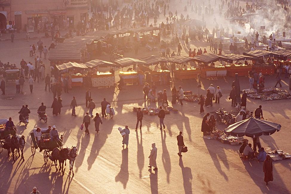 Torget Djeema el Fna i Marrakech