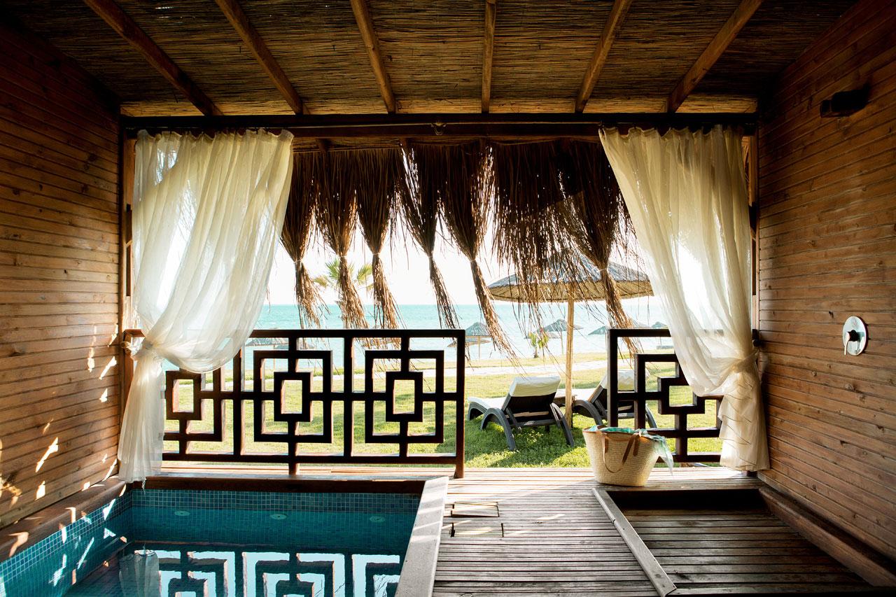 Dubbelrum i bungalow med havsutsikt