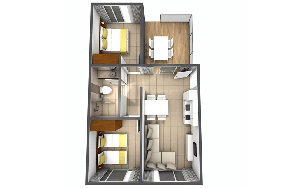 Exempel på Trerumslägenhet i hus/villa med 4 ordinarie bäddar