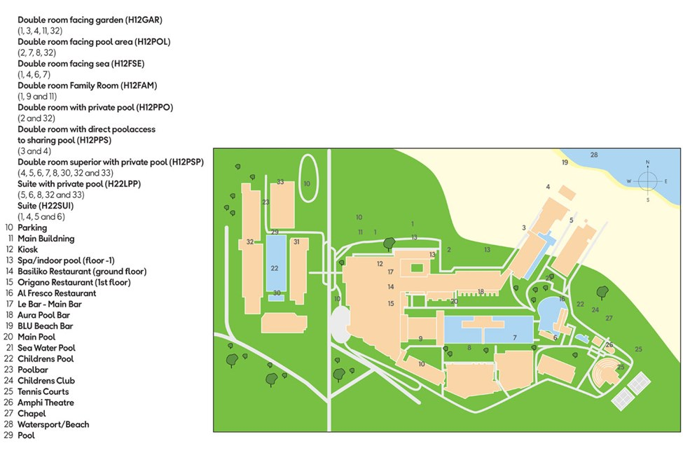 Översiktskarta av hotellområdet