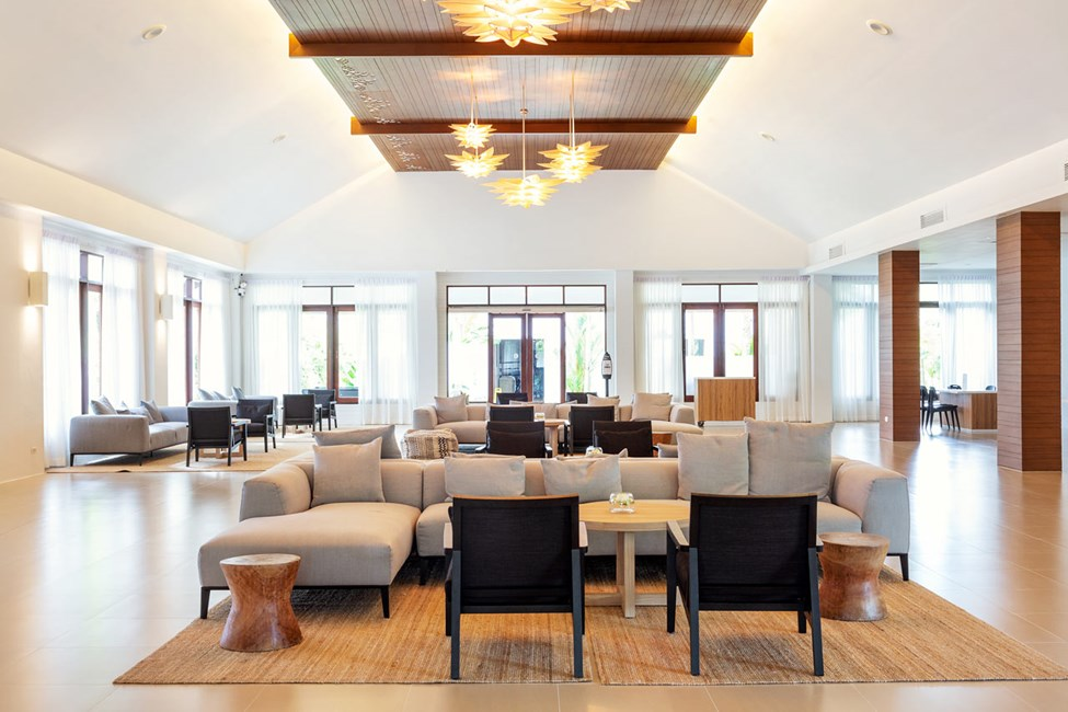 Hotellets trivsamma Lobby.