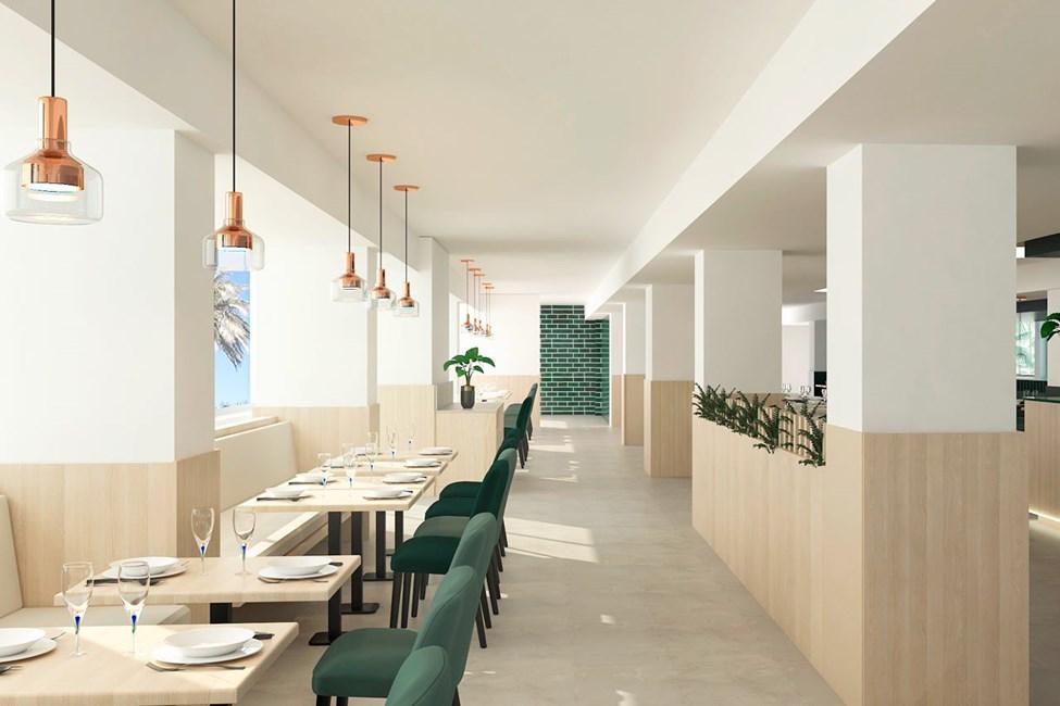 I hotellets bufférestaurang kan du äta frukost, lunch och middag. Bilden är en illustration och kan komma att ändras.