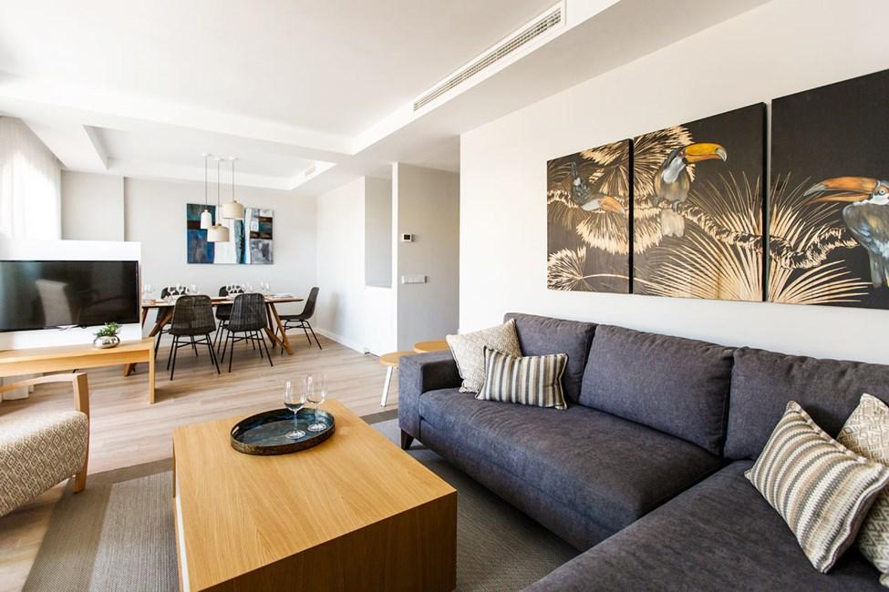 Exempel på vardagsrum i fyrrumslägenheterna