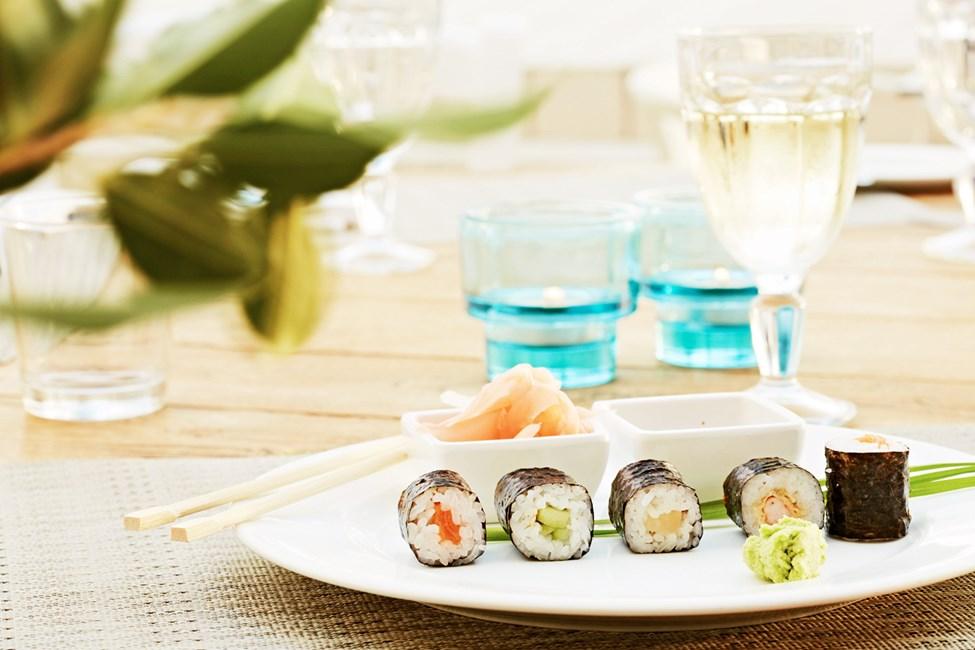 En av kvällarna kan du njuta av asiatiska rätter i bufférestaurangen.