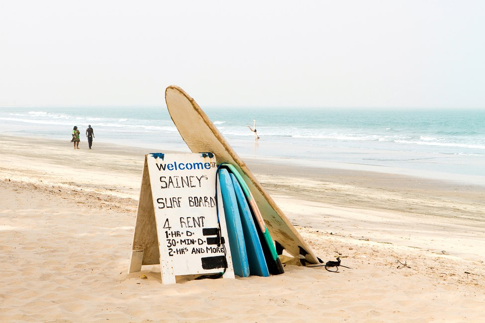 Stranden vid Bungalow Beach Hotel, Gambia