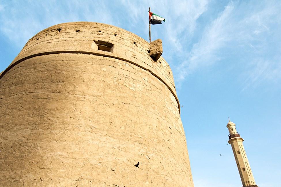 Fort Al-Fahidi och Great Mosque-minareten, Bur Dubai