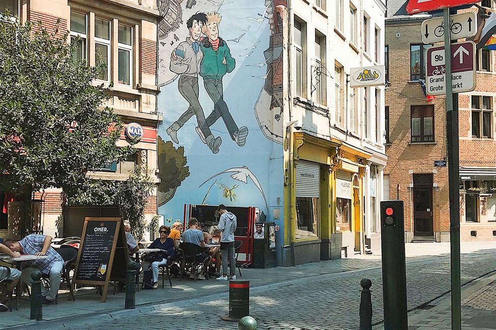 Mysiga och färgglada kvarter i Bryssel