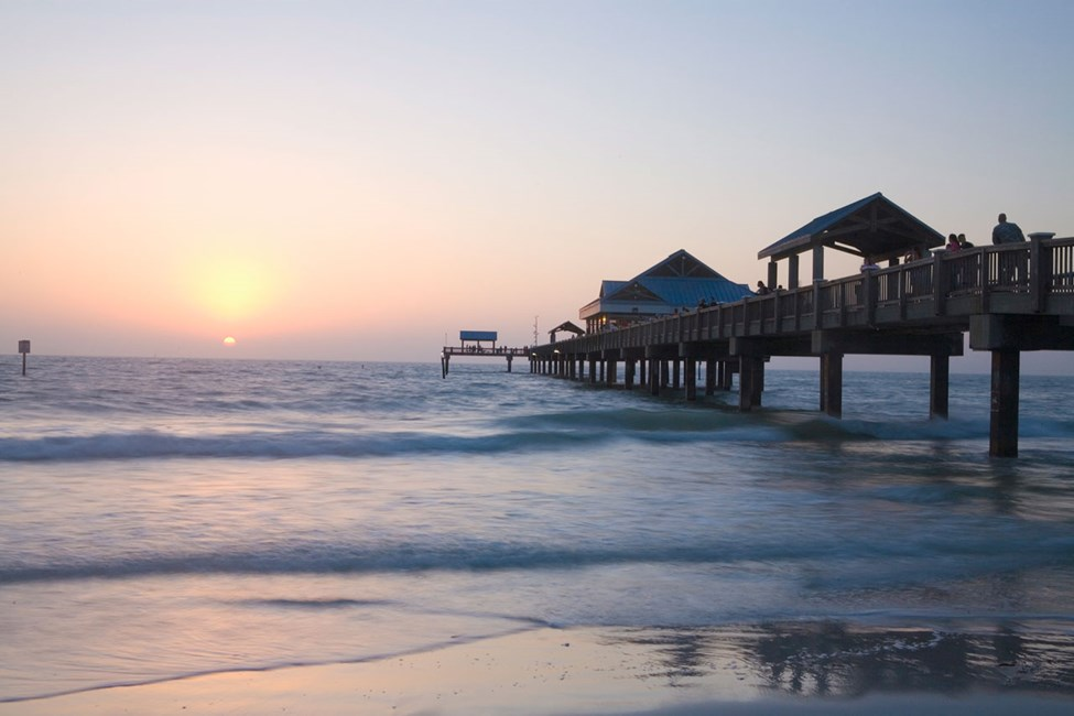 Solnedgång vid Pier 60