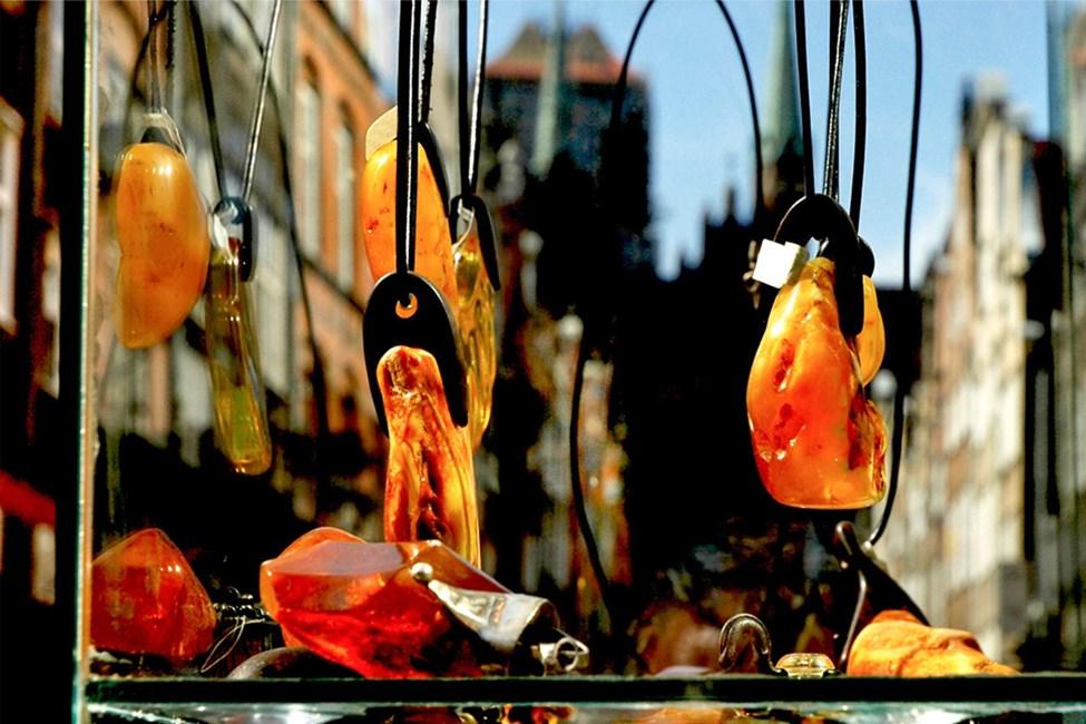 I Gdansk finns ett stort utbud av bärnsten.