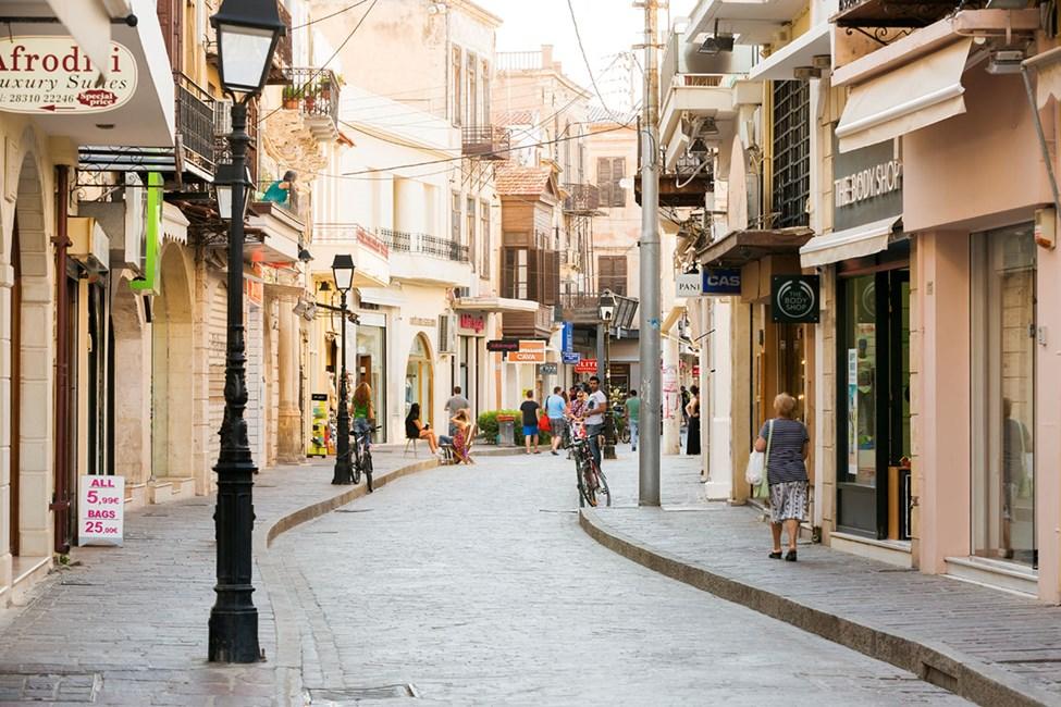 De gamla stadsdelarna av Rethymnon