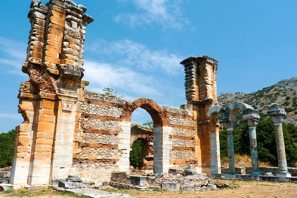Historiska platsen Philippi ligger ca 16 km från Kavala stad