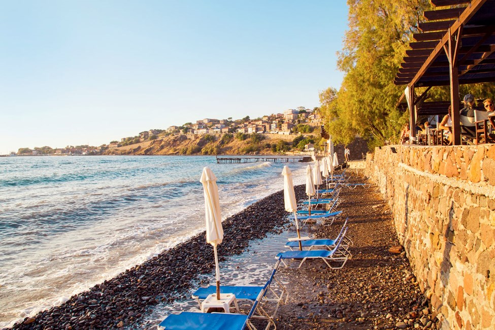 Stranden vid hotell Olive Press