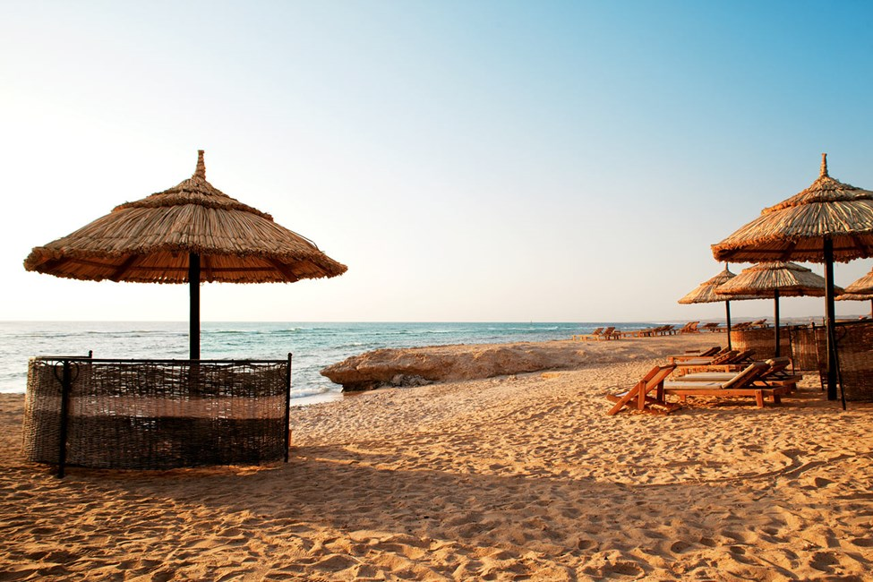 Stranden vid Siva Oasis & Sands