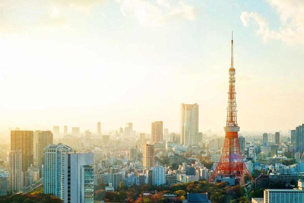 Tokyo Tower och utsikt över omgivningarna